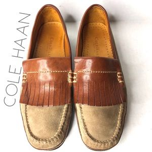 Cole Haan suede kiltie fringe driving loafers 8.5